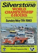 SILVERSTONE 11 May 1980 WORLD CHAMPIONSHIP 6 HOURS Races A4 Official Programme