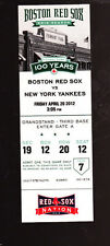 BOSTON RED SOX NEW YORK YANKEES 2012 SEASON 100 YEARS TICKET FENWAY PARK SGA