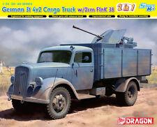 Dragon 1:35 German 3t 4x2 Opel Cargo Truck w/ 2cm Flak 38 2 in 1 Kit #6828