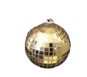 """Large Gold Mosaic Christmas Holiday Ornament 18"""" Diameter x 7"""" Tall"""