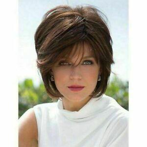 100% Human Hair Nobby Short Light Brown Fluffy Wavy Noble Wig