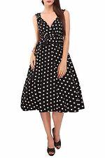 Miss Lavish Dress 50's Prom Swing Vintage Rockabilly Retro Polka Dot Plus Size 24 Black