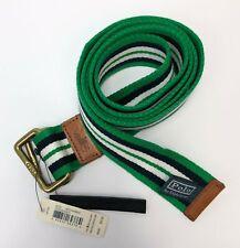 Polo Ralph Lauren Horizontal Striped Braided Belt Men Size X-Large Green/White