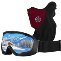 Sport Goggles OTG Compatible with Helmet Boys Girls Snowboard Windproof Gloves