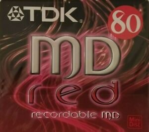 TDK MD-80 - MD-C80REA - Red 80 MIN Recordable Audio Music Minidisc NEW & SEALED