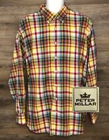 Peter Millar Men's Multi-Color Cotton Plaid Long Sleeve Button Down Shirt XL
