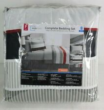 Mainstays Red Stripe 8 pc Bed in a Bag Complete Set with Sheets - Full