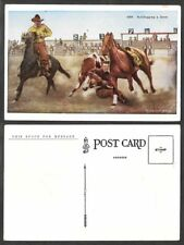 Old Postcard - Cowboys, Horses - Bulldogging a Steer