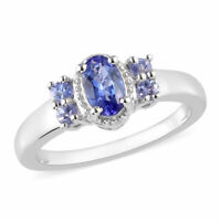 925 Sterling Silver Tanzanite Statement Ring Gift for Women Size 9 Ct 0.7