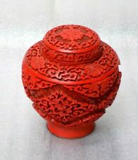 Magnificent Rare Chinese Hand-Carved Red Cinnabar Vase