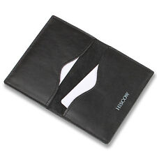 HISCOW Minimalist Thin Bifold Credit Card Holder ID Case Black Genuine Leather