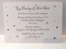 10 Personalised Wedding / Evening invitations with FREE envelopes - Silver Star