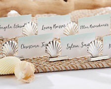 48 Silver Seashell Beach Wedding Place Card Holders Favors Lot Q36320