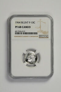 1964 Blunt 9 10C Silver Proof Roosevelt Dime NGC PF 68 Cameo