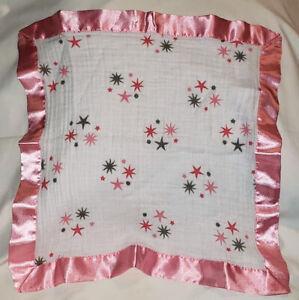 Aden Anais RARE Pink Gray Stars Security Blanket Lovey Pink Satin Trim STARS EUC