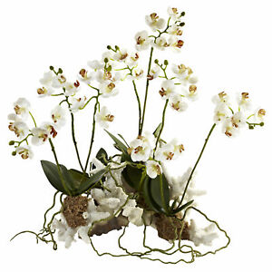 """Nearly Natural Mini Phalaenopsis Set On Coral White Flowers Home Decoration 14"""""""