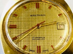 WALTHAM Vintage MENS SWISS MADE Incabloc Day 17 Jewels Red Second Hand Winding