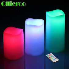 Ollieroo Hot 3 Pieces Colors Changing Remote Control Flameless LED Candle Light