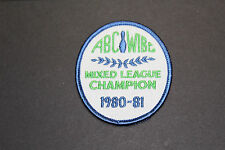 """Vintage Embroidered Bowling Patch """"1980-81 ABC-WIBC Mixed League Champion"""""""
