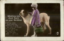 Little Girl in Purple Jacket & Hat w/ Big Dog Tinted Real Photo Postcard
