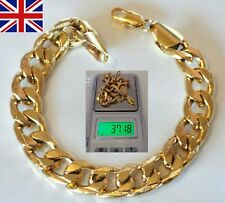 "Mens Gold Filled Chunky Curb Chain Link Bracelet ; 10mm  8.66"" 29g /UK"