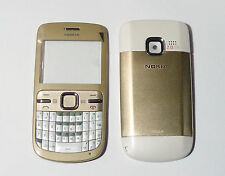 Gold Housing Cover Facia Fascia Faceplate case for nokia C3