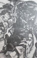 Vintage impressionist landscape village print