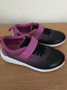 Clarks Girls Purple Trainers,washable,hook,loop Strap,Uk Size 10.5 G,excellent c