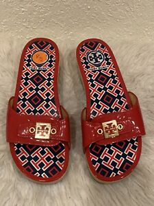 Tory Burch Dixon Red Slide Sandals Size 8.5/ 8