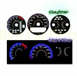 BLACK Gauges Kit Glow BLUE Reverse for 99-03 Acura TL 3.2L V6