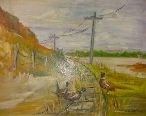 American Folk Art Pheasants Oil on Board Painting 1960's PA Estate 24x18 signed