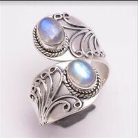 925 Silver Moonstone Gemstone Ring Wedding Engagement Jewelry Party Gift Sz6-10
