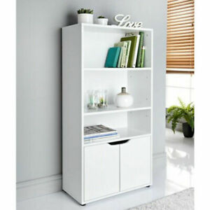 White bookcase Storage cabinet with 3 shelves & 2 doors MDF wood Cupboard 0431