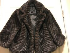 Mossimo Womens Faux Mink Fur 3/4 Sleeve Cropped Jacket Size Medium