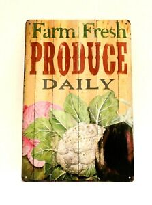Farm Fresh Produce Daily Tin Poster Sign Vintage Rustic Style Farmers Market