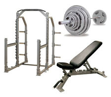 Body Solid Pro Multi Squat Rack With FID Bench And 300 lb Olympic Set - NEW!