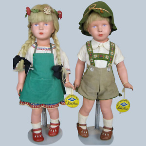 Vintage 1950s Celluloid Kathe Kruse Tagged Dolls ~ Boy and Girl Pair!