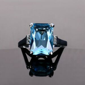 Fashion 925 Silver Square Aquamarine Party Jewelry Ring Engagement Wholesale