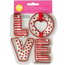 Wilton Valentines Day Word Love 4 Piece Cookie Cutter Letters Set