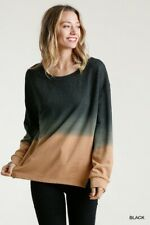 Umgee Black Ombre Dye Long Sleeve French Terry Knit Top