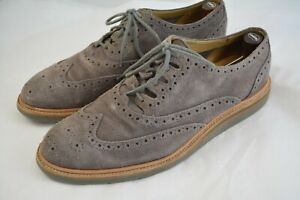 Mens COLE HAAN Gray Suede Wingtips Dress Shoes Size 9.5 M