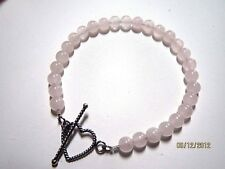 Rose Quartz Bead Bracelet with Sterling Silver Heart Toggle Clasp