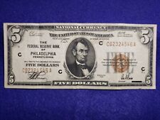 1929 $5 Dollar National Currency The Federal Reserve of PHILADELPHIA, PA - VF