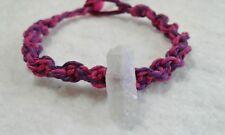 Quartz Crystal Hemp Bracelet Pink & Purple Friendship Handmade Surfer Boho
