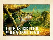 retro tins bass fishing outdoor sports life better when you fish metal tin sign