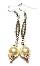 Long Silver Pearl Earrings Drop Dangle Glass Bead Tibetan Style Pierced Artisan