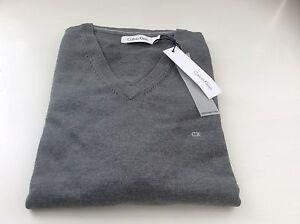 Calvin Klein Plain CK V-Neck Long Sleeve Jumper Grey  XS BNWT