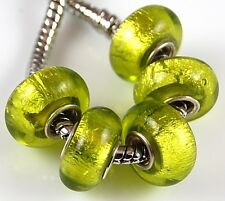 5 pcs Olive Silver Foil Big Hole Lampwork Beads Fit European Charm Bracelet