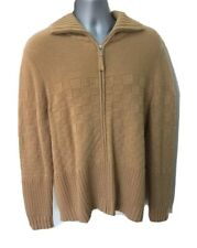 BYPAC Men 100% Cashmere Cardigan XL Long Sleeve Knitted Full Zip Beige
