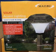 (6) Malibu Solar Garden Outdoor Path Yard LED Silver Metal Landscape Light NEW